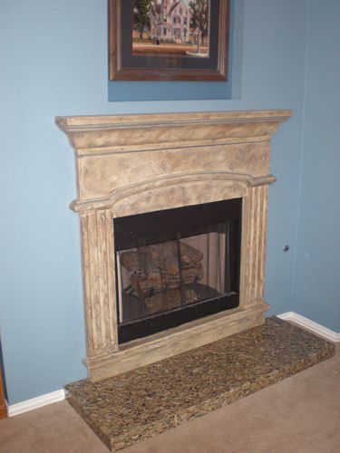 Fauxed Mantle and Granite Hearth