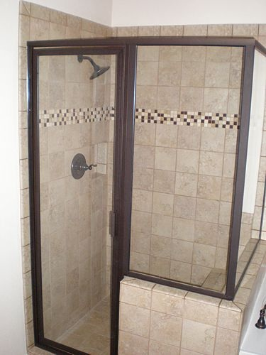 Framed Glass Shower Stall-Bronze (1)